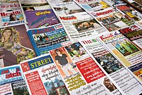 Newspapers for sales on the street Yangon Myanmar
