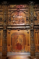 16th century Renaissance Gothic style stalls with wood sculptures & inlays ordered by cardinal Georges d´Ambrose of Rouen  The Gothic Cathedral Basili...