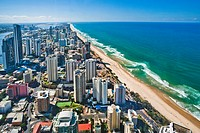 Australia, Queensland, aerial view of Surfers Paradise and Main Beach from Q Deck
