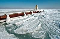 Icy pier, frozen Black Sea, a rare phenomenon, last time it occured in 1977, Odessa, Ukraine, Eastern Europe