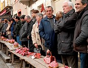 Traditional french Truffles´ market in Lalbenque, in Perigord, France
