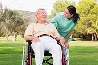 Man in wheelchair enjoying the park