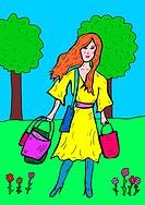 Frau trägt Taschen