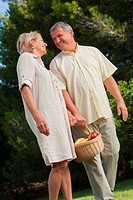 Happy older couple walking with basket of fruit