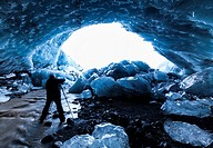 Ice cave, Skaftafell National Park, Southern Iceland, Iceland, Europe.