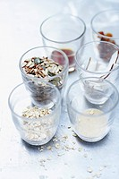 Assorted cereals for granola recipe