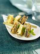 Small eggplant and Chaumes cheese fried brochettes