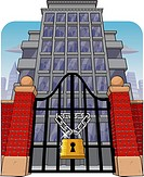Office building with main gate locked