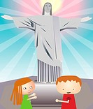 Tourists in front of a statue, Christ the Redeemer, Rio de Janeiro, Brazil