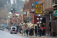 USA, South Dakota, Black Hills National Forest, Deadwood, historic Main Street, early winter
