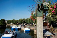 A RIDE IN AN ELECTRIC BOAT ON THE PART OF THE LOIR RIVER SURROUNDING THE TOWN, MEDIEVAL CITY OF BONNEVAL, NICKNAMED THE LITTLE VENICE OF THE BEAUCE, E...