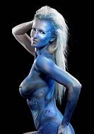 blue bodypainted woman