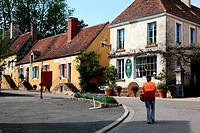 THE MUSEUM OF LACE NETTING, STREET IN THE PICTURESQUE VILLAGE OF LA PERRIERE, PERCHE, ORNE 61, FRANCE, EUROPE