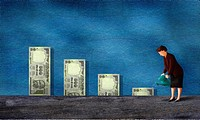 Watering Dollars --- Image by &#169; Images com/Corbis