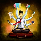 Businessman meditating while sitting in lotus position on briefcase with multiple hands holding various things over colored background depicting multi...