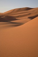Camel trekking through the sand dunes of Merzouga, Morocco
