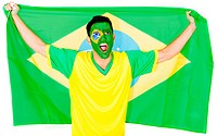 Brazilian man celebrating