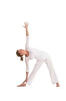 Yoga, triangle pose, trikonasana