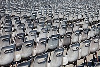 Line of chairs on the Peters square, Vatican