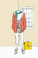 fashion illustration of a set of clothes hanging