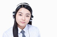 a female student wearing a headphone