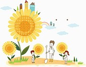 illustration of a family planting sunflowers