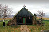Turf church Vidimyri, Skagafjoerdur, Island