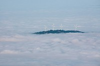 Wind turbines on the Rosskopf in Black Forest in fog, Germany