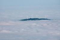 Wind turbines on the Rosskopf in Black Forest in fog, Germany