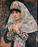 The Daughter of the Boyar with her arms crossed on her chest, by Surikov Vasily Ivanovic, 19th Century, 1885, oil on canvas, cm 46 x 36