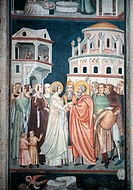 Stories of the Virgin Mary, by Artista proto_giottesco, 14th Century, fresco,