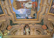 Ceiling decoration of the room Galliera, by Barabino Nicolò, 19th Century, 1887, fresco and stucco,