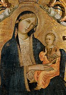 Madonna of Humility with Two Angels, by studio of Agnolo Gaddi, 14th Century, tempera on wood, 110 x 60 cm