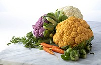 Food, Food And Beverage, Vegetable, Cauliflower, Raw, Purple Cauliflower, Orange Cauliflower, White Cauliflower, Carrot, Baby Carrot, Carrot Top, Bunc...