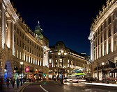 Regent Street, London, United Kingdom. Architect: Studio 29, 2012. Wide view showing facade lighting.