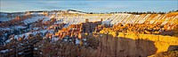 A panoramic view of the hoodoos in Bryce Canyon in the morning light.