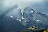 Stormy light on mountains in Torres del Paine, Patagonia, Chile.