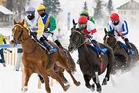Switzerland, St  Moritz, White turf race