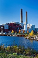 The Presque Isle Power Plant and coal loading facilities in Marquette, Michigan, USA
