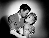 US actress Shelley Winters in the arms of Frank Sinatra in a scene of the movie Meet Danny Wilson by Joseph Pevney. USA, 1951. Meet Danny Wilson, 1951...