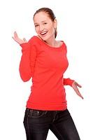 Studioaufnahme einer jungen und glücklichen Frau
