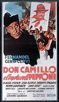 Poster of 'Don Camillo's Last Round'. In the foreground the portrait of perplexed Don Camillo, played by French actor Fernandel. In the background som...