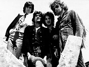 The Italian band New Trolls (Vittorio De Scalzi, Nico Di Palo, Giorgio D'Adamo, Gianni Belleno) posing together. September 1971