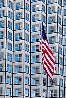 Skyscraper and American Flag, Miami, USA