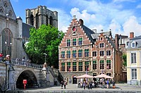 Ghent / Gent, Belgium. Graslei - Guild Houses and Sint Michielskerk / St Michael´s Church