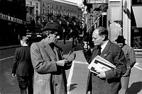 Italian writer and literary critic Bruno Barilli talking to Italian poet and writer Giuseppe Ungaretti. 1940s.