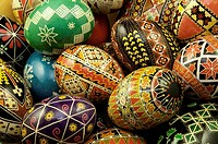 Grouped pysanky eggs with traditional design on them