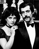 Italian actress Ilaria Guerrini and Italian actor Orso Maria Guerrini acting in the film An Inspector Calls. Rome, 1972. An Inspector Calls, by John B...