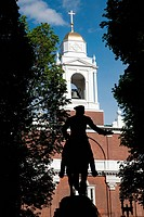 Silhouette of statue of Paul Revere´s midnight ride at the Historic Old North Christ Church, American Revolutionary War site where lantern hung in tow...