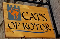Europe, Montenegro, Kotor, Old Town, 'Cats of Kotor' sign